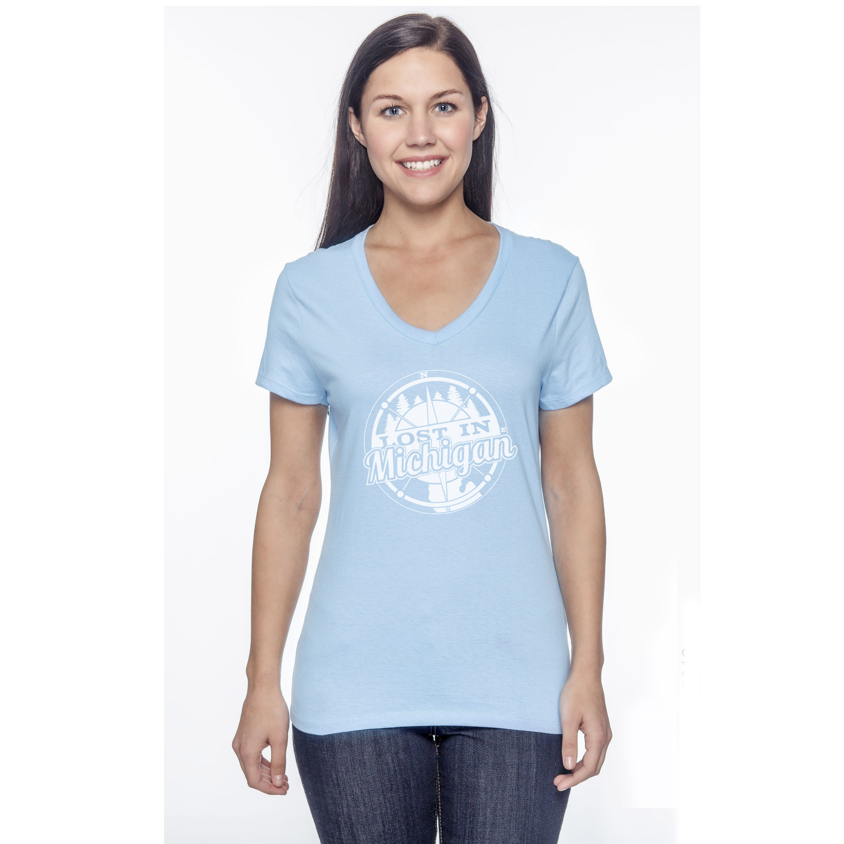 Lost In Michigan | Lost In Michigan Womens Light Blue T ShirtLost ...